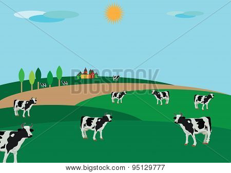 peasant countryside with grazing an