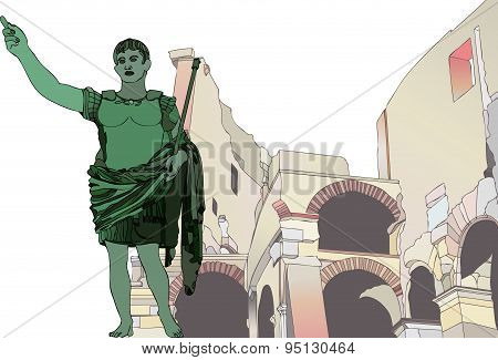 Statue Of Emperor Gaius Julius Caesar To The Roman Colosseum
