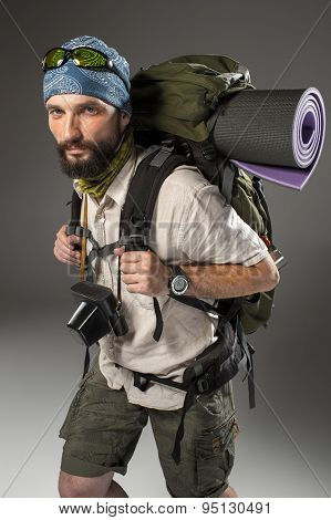 Portrait of a male fully equipped tourist