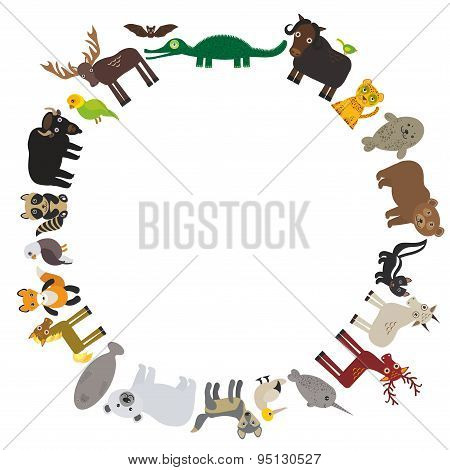 Animal Round Frame, Bison Bat Manatee Fox Elk Horse Wolf Fur Seal Polar Bear Mountain Goat Raccoon E
