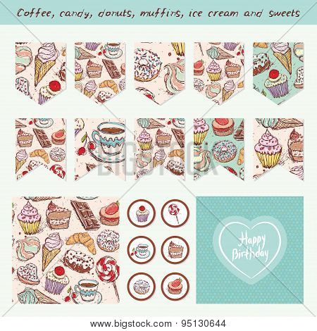 Scrapbook Design Elements Hand Drawn Confectionery Set Croissant Cupcake Candy Marshmallow Ice Cream