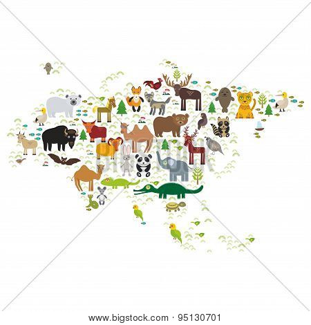 Eurasia Animal Bison Bat Fox Wolf Elk Horse Cock Camel Partridge Fur Seal Walrus Goats Polar Bear Ea
