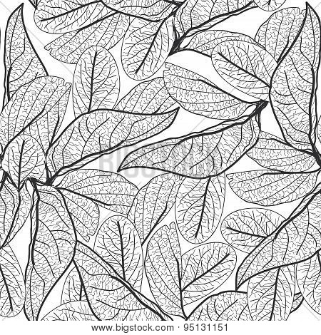 Leaves Contours On White Background. Floral Seamless Pattern For Fabric, Wallpaper, Pattern Fills, W