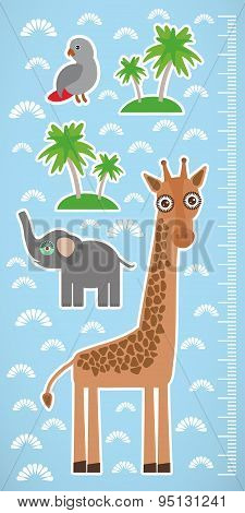 Giraffe Parrot Bird And Palms On Blue Background Children Height Meter Wall Sticker. Vector