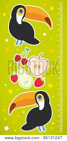 Toucan Bird And The Apple Pear Strawberry Cherry On Green Background Children Height Meter Wall Stic