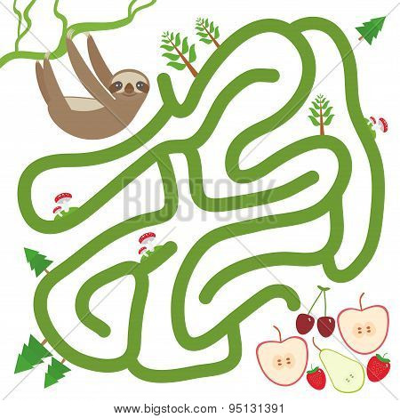 Three-toed Slothful On A Branch And The Apple Pear Strawberry Cherry On White Background  Labyrinth