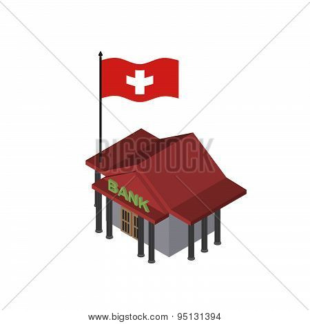 Swiss Bank. Reliable Bank with  flag of Switzerland. Vector icon.
