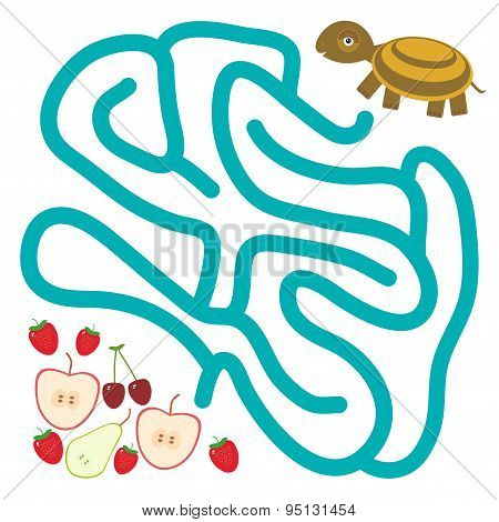 Turtle And The Apple Pear Strawberry Cherry On White Background  Labyrinth Game For Preschool Childr