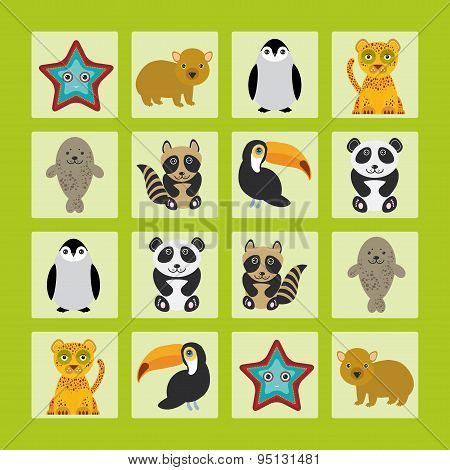 Starfish Hamster Penguin Leopard Seal Raccoon Panda Toucan Finding The Same Picture Educational Game