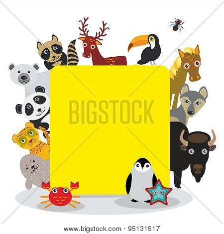 Cute Cartoon Animals Set Toucan Deer Raccoon Horse Wolf Bison Penguin Starfish Crab Seal Leopard Pan
