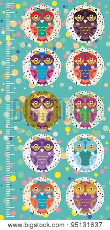 Fun Colored Owls On Blue Background Children Height Meter Wall Sticker, Kids Measure. Vector