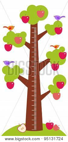 Big Tree With Green Leaves Birds And Red Apples On White Background Children Height Meter Wall Stick