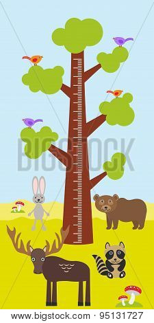 Big Tree With Green Leaves, Birds Rabbit Elk Bear Raccoon Children Height Meter Wall Sticker, Kids M