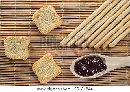 Breadsticks, Toasts And Blueberry Jam
