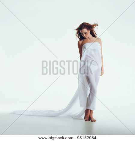 Nude Woman Covered With Transparent Textile