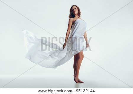 Sensual Young Woman Posing On White Background