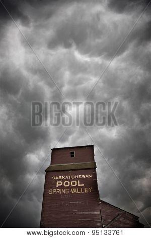 Storm Clouds Saskatchewan Grain Elevator