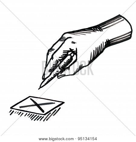 Hand with pen and check boxes. Vector illustration sketch vintage style
