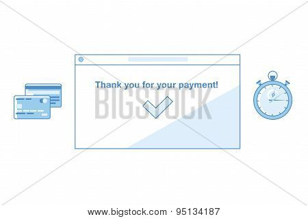 Online Payments Flat Concept Vector Illustration.  concept with icons of buying product via online s