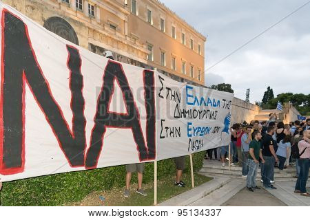 Athens, Greece, 30 June 2015. Greek people demonstrated against the government about the referendum.