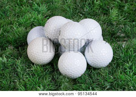 Golf Balls On Green Grass