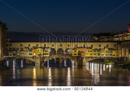 Ponte Vecchio In Evening, Florence, Italy