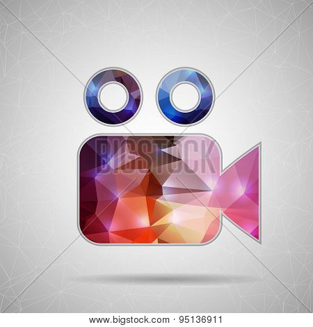 Abstract Creative concept vector icon of video camera for Web and Mobile Applications isolated on ba