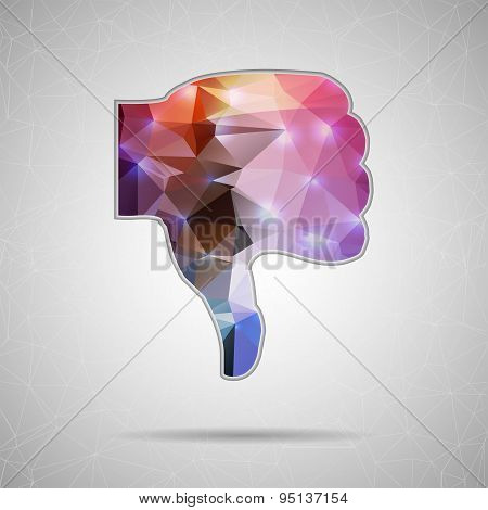 Abstract Creative concept vector icon of thumbs down for Web and Mobile Applications isolated on bac