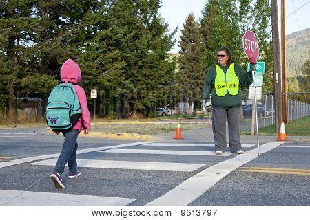 Student at crosswalk