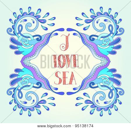 aquatic blue frame with wave, sparks and drops, water design