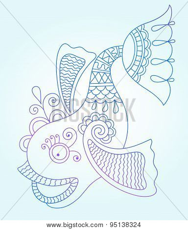 blue line drawing of sea monster, underwater decorative fish