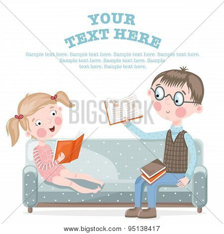 Girl doing homework. Girl with Dad doing homework. Homework help, primary education, knowledge, school, education. Vector illustration. Homework lesson. Homework concept. Homework help.