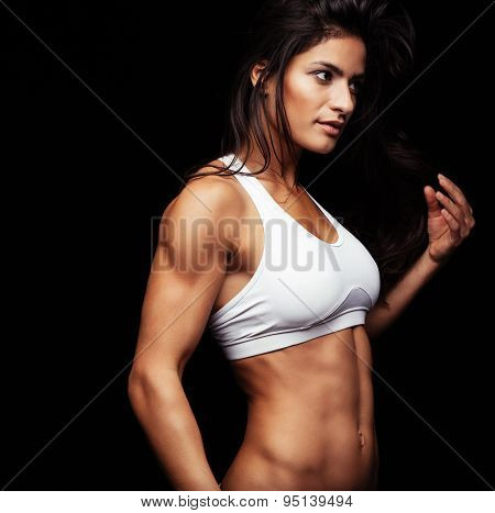 Fitness Woman Looking Away Thinking
