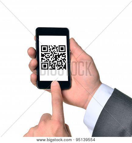 Businessman touching smartphone