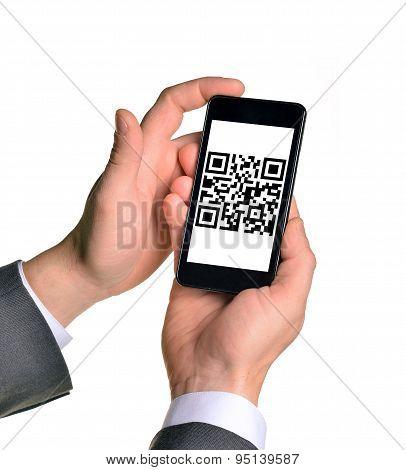Businessmans hands holding smartphone