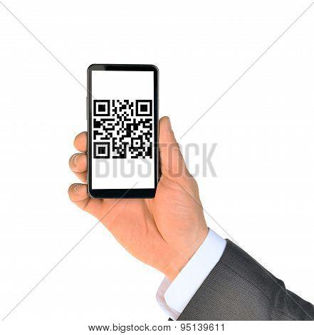 Businessmans hand showing smartphone