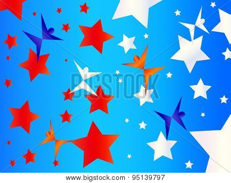 Brightly Colored Silhoettes Dance Across A Red White And Blue Starry Sky, American Themed Background