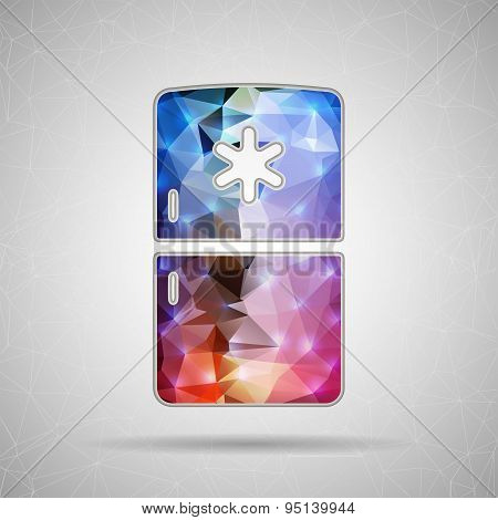 Abstract Creative concept vector icon of fridge for Web and Mobile Applications isolated on backgrou