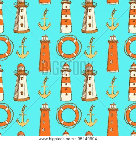 Sketch Life Bouy, Lighthouse And Anchor In Vintage Style
