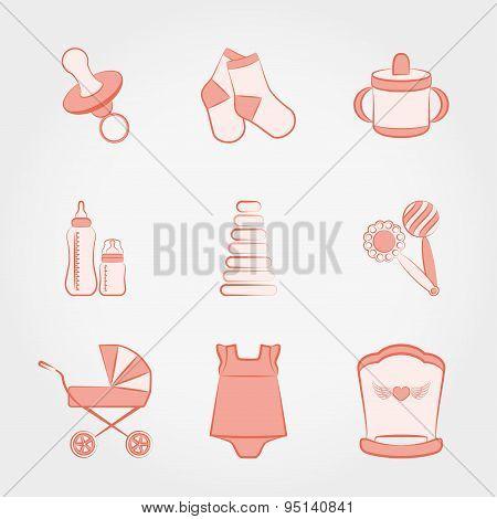 Baby fashion set. Girl.