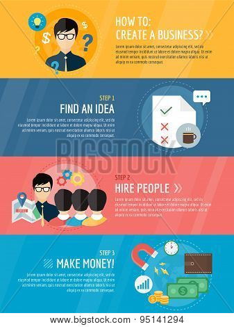 Startup business creation infographic. Command, labor, idea and work with new team. Vector stock ill