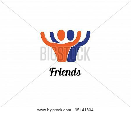 Friends or partners vector logo element. Business, command, sport and relations. Stock illustrations