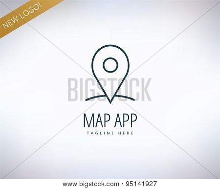 Map marker on the map icon element. Place, travel, transport and app. Vector stock illustrations for