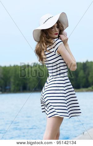 Pretty Girl Outside In White With Hat