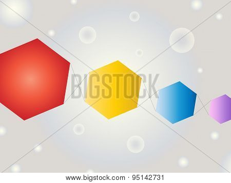 Abstract Geometric Shape Vector Background With Bubbles And Kites In The Sky Feel On Gray