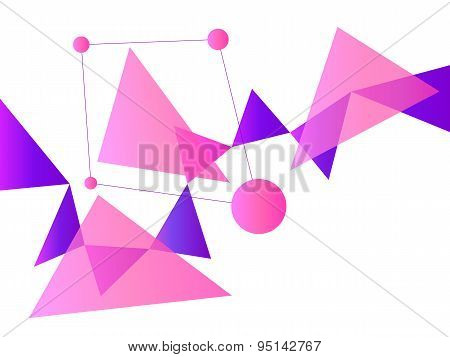 Pink And Purple Abstract Geometric Shape Vector Background With Spheres And Triangles On White
