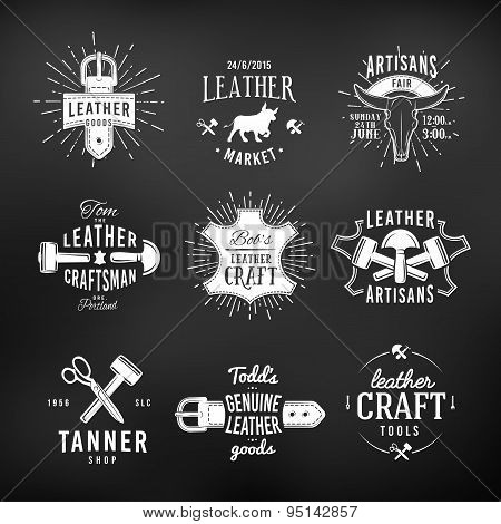 Set of leather craft logo designs, retro genuine vintage tool labels. artisans market insignia vecto