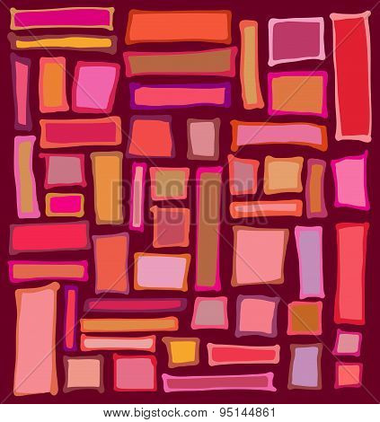 Liquid Rectangle And Square Shapes In Red Pink Orange