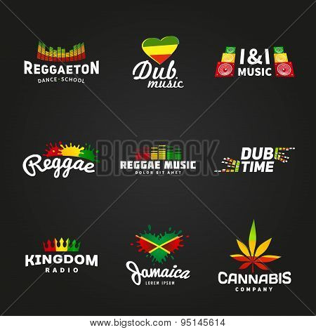 Set of africa flag logo design. Jamaica music vector template. Colorful dub time company concept on