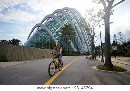 People Cycle In Gardens By The Bay